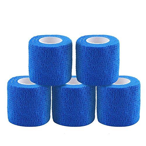 テーピングテープ キネシオ テープ テーピング 自着性テープ 不織布 伸縮性&通気性 エラスチックバンデージ 筋肉・関節サポート 弾性包帯 汗に強い 5巻入 4.5m/巻 (ブルー)
