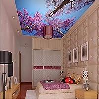 Wuyyii カスタム壁紙3D壁画絵画地中海青空天井壁画寝室の壁紙ロマンチックなチェリーKtvバー-350X250Cm