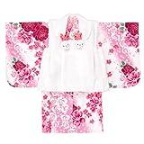 女の子ベビー着物 ボア被布セット ポリエステル 白ピンク/バラ 1才(80cm-90cm) 中国製