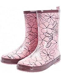 [銀の心] レインブーツ レディース 花柄 可愛い オシャレ ミドル丈 雨靴 長靴 滑り止め 歩きやすい 防水 梅雨対策(22.5.0cm~25.0cm)