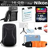 16GB Accessories Kit For Nikon COOLPIX AW120 AW110 AW130 W300 Waterproof Digital Camera Includes 16GB High Speed SD Memory Car..