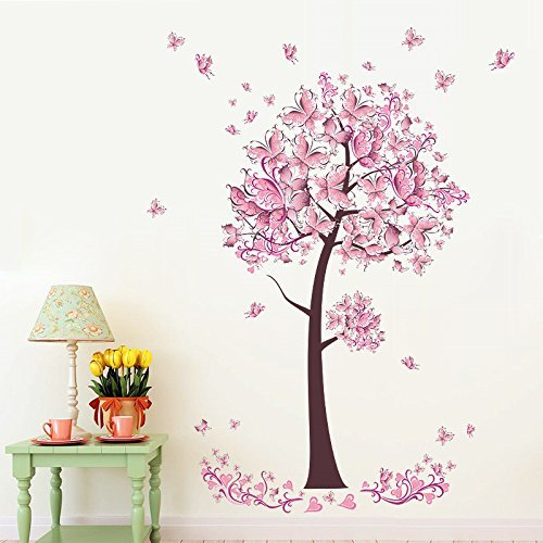 Sungpunet Sweet Flower Butterflies Tree Wall Stickers Decals Living Room Bedroom TV Sofa Background Home Decor Wall Decals Mural Poster