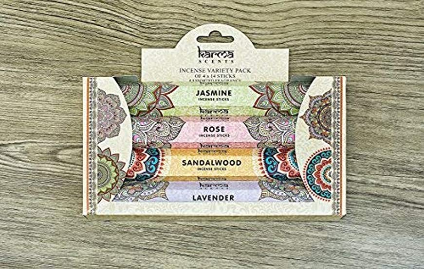 ボランティア三番繁栄Premium Incense Sticks Sandalwood, Jasmine, Rose and Lavender Variety 56 Sticks Gift Pack