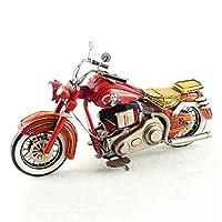 SHLIN-アロイカーモデル 手作り錬鉄アンティークオールドモデル1987ハーレージェームズディーン記念オートバイモデル装飾的な装飾品クリエイティブギフト (色 : 赤)