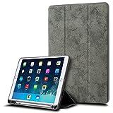 WARMQ iPad 9.7ケース 2018最新 iPad 9.7保護カバー タブレットケース スタンド機能 Apple Pencil 収納可能 三つ折タイプ 全面保護型 傷つけ防止 レザー素材 ペンホルダー付き スマートカバー オートスリープ機能 超軽量 2018/2017汎用ケース iPad対応(モデル番号A1822、A1823) (グレー)