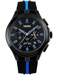 男性のユニークなシリコーンゴムクォーツ時計多機能スポーツカジュアル腕時計日、三つのサブダイヤル