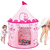 ArtIronプリンセスお城テント屋内と屋外子供の再生テントPop Up Playhouse with DrawstringバックパックGifts Toys for 1 – 8女の子(ピンク)