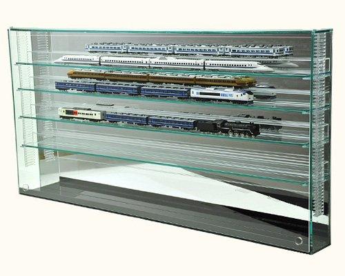 棚1段に2台置ける♪開閉に場所を取らない!フロントオープン式 Nゲージ 鉄道模型 コレクションケースW 7mm上下移動棚&壁掛け式