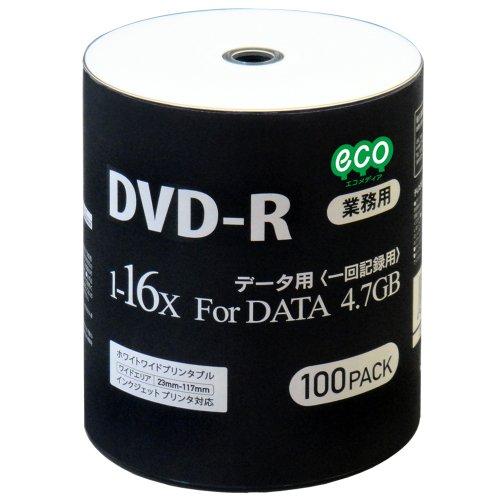 DVD-R データ用 16倍速 ワイドプリンタブル DR47JNP100_BULK 1パック(100枚)