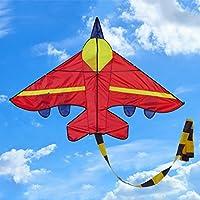 Manyao 新しい飛行機の形の凧アウトドア凧フライングのおもちゃ子供たちの子供たちのための凧 (赤)