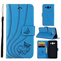 MGVV Samsung Galaxy J5 2016 Wallet Case, [Butterfly Embossing] Folio Folding Wallet Case Flip Cover Protective Case with Card Slots and Kickstand for Samsung Galaxy J5 2016 - Blue
