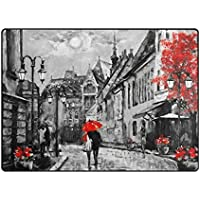 vantasoドアマット非スリップエリアラグHappy Valentine Day Romantic Couple Underレッド傘on street再生マットカーペットの再生の子供部屋リビングルームSoft Foamキッチンラグ63 x 48インチ 80 x 58 inch