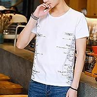 Madalena 夏の新しいメンズカジュアルラウンドネックスリム底入れ半袖Tシャツ (Color : White, Size : XL)