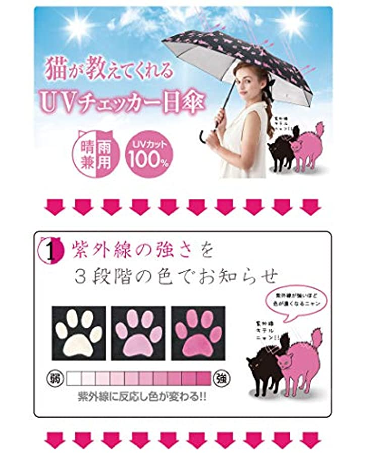 反対する触手静かなネコとお散歩 ネコのUVお散歩日傘【晴雨兼用/紫外線カット/幅広サイズ/可愛い】