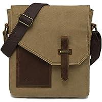 Small Messenger Bag,VASCHY Vintage Canvas Leather Lightweight Crossbody Bag Travel Bag