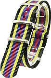 ( ブラック/イエロー/ブルー/レッド 20mm ) NATOタイプ 時計ベルト 腕時計ベルト ナイロン 2PiS 交換マニュアル付