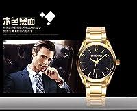 SJXIN クォーツ時計、リストウォッチ,美しいCHEN XI時計, スチールベルトメンズ腕時計防水ビジネスウォッチメンズブラック非機械式時計ファッションゴールドクォーツ腕時計006A (Color : 3)