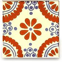 【B'stile】絵画のような壁タイル「メキシコタイル」M257-4(陶器質|100mm角|屋外壁/屋内壁用)1枚