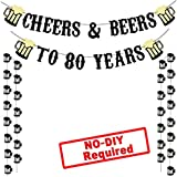 Cheers & Beers to 80 Years Real Black Glitter Banner for 80th Birthday Wedding Anniversary Party Decorations Supplies