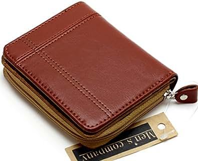 [メンズ カンパニー]Men's company 「 ラウンド型小銭入れ 二つ折り財布 」 使いやすい大型ラウンド小銭入れ コンパクトサイズでも小銭 カード類も沢山収納 カード収納財布 小銭入れ コインケース [男女兼用] (ブラウン)