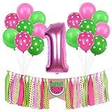 ONINIT スイカバナーキット 女の子の赤ちゃん 1歳の誕生日パーティーの装飾 夏のピクニック 1歳の誕生日写真撮影バナー ハイチェアバナー ホイルバルーンとラテックスバルーンセット