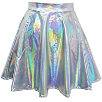 pinda Rave Bottoms Outfits Iridescent Mermaid Party Supplies Holographic High Waisted Flare Skater Skirt