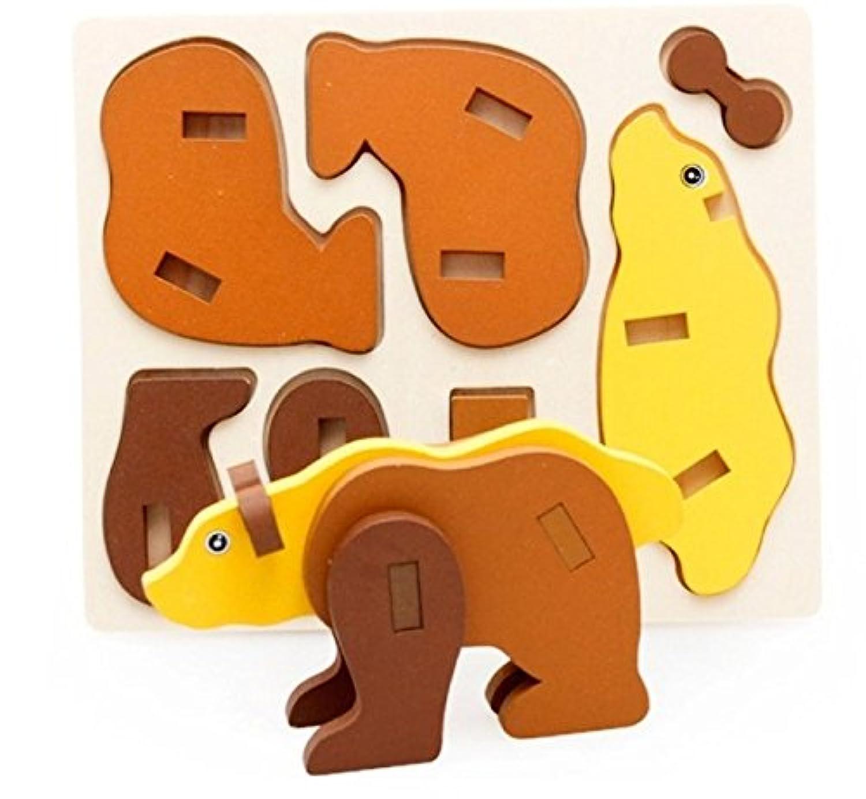U.D. Let's Make - Children 's Wooden 3D Animal Bear