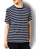 Doublefocus ボーダーTシャツ 半袖 メンズ ティーシャツ シンプル 人気 トレンド M ネイビー M ネイビー