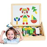木製の磁気パズルのおもちゃ 幼児玩具教育旅行パズルゲーム両面絵画イーゼル男の子と女の子
