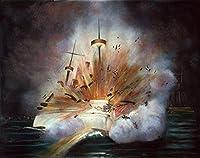 Posterazzi Cuba:1898年2月15日、ハバナ港のUSSメインのUSS爆発ポスタープリント - (18 x 24)