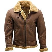 Infinity Men's Brown B3 Shearling Sheepskin WW 2 Bomber Leather Flying Aviator Jacket