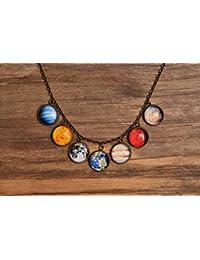ソーラーシステムネックレス、惑星ネックレス、宇宙ネックレス、Galaxyネックレス、アンティーク真鍮ペンダント、ガラスネックレス、ガラスドームネックレス