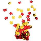 amleso スパークル 紅葉デザイン 紙吹雪 結婚式 誕生日 パーティー テーブル 装飾 15グラム プラスチック 全3色  - ゴールド&レッド