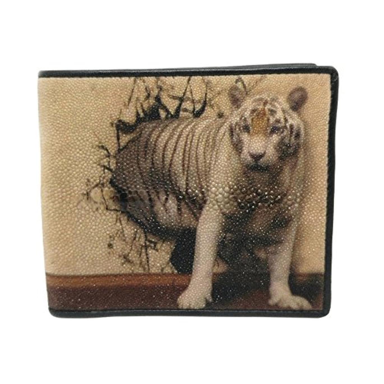 曲がった繰り返したくそーTREASURE-Stingray Bi-Fold Genuine Leather Print Tiger Come From Wall Wallet - Brown