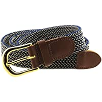 Braided Elastic Woven Stretch Belt Gold Buckle Beige and Solid Color Strap