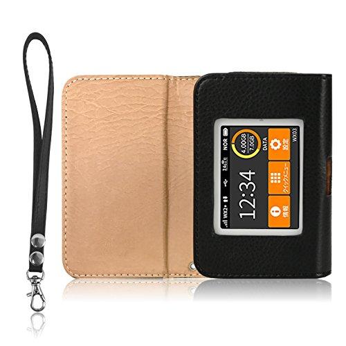 LOE(ロエ) UQ WX03 専用 Wi-Fi モバイルルーター ケース (ブラック)