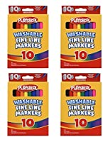 Set of 4 Playskool 10-Count Fine Line Washable Markers (40 Total Markers)