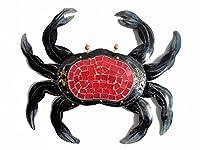 一意hand-chiseled Tropicalメタルマリンスタイル壁装飾Crab with UniqueレッドInlaidモザイクガラス