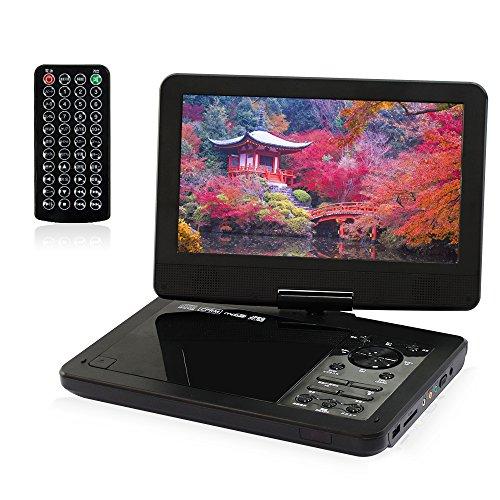 ポータブルDVDプレーヤー 10.1インチ 高画質液晶スクリーン 270度回転 リージョンフリー 3種類電源対応 軽量 携帯便利 ブラック