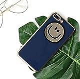 ニューバランス テニス (プチプライム) Petit Prime ニコニコ スマイル モチーフ ゴールド ミラー ダスティ カラー アイフォン ソフト ケース カバー ネイビー iPhone7 PLUS / iPhone8 PLUS 兼用