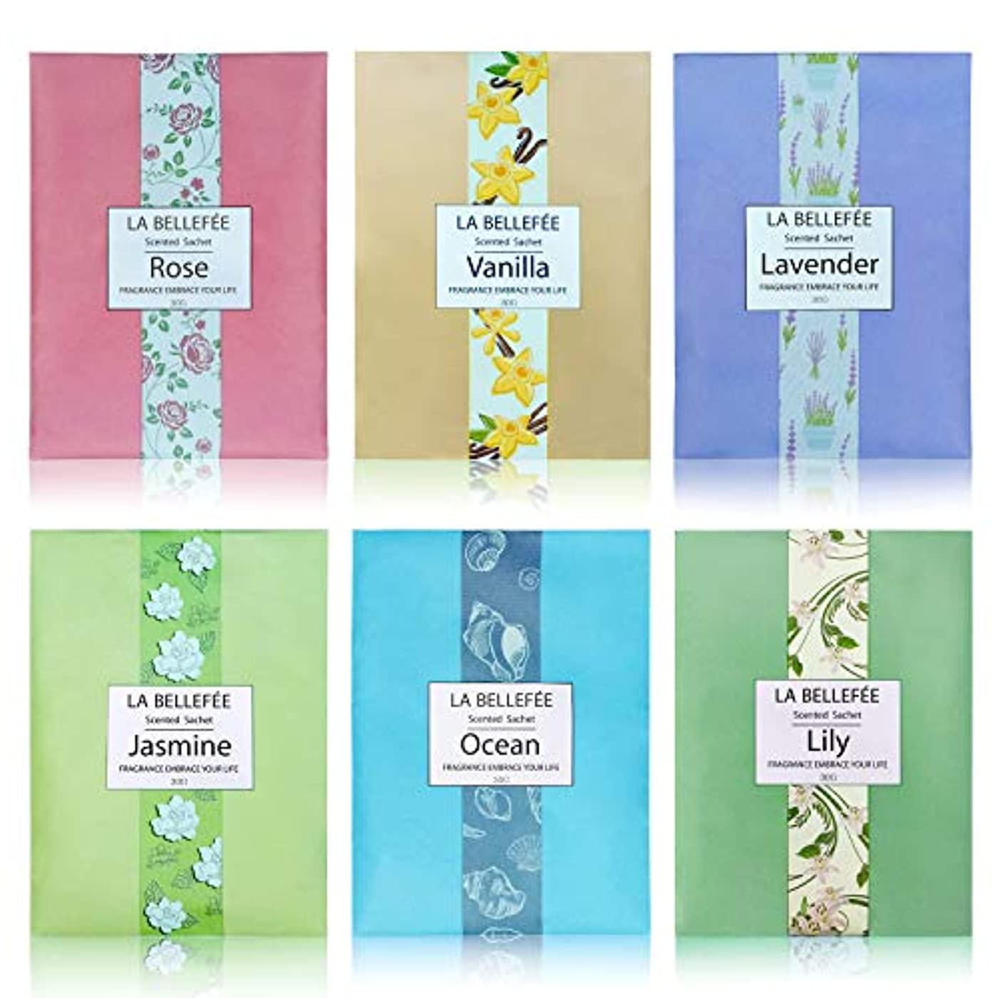 周波数くちばしビジュアルLA BELLEFÉE 香り袋 サシェ フレンチマカロン 匂い袋 アロマ袋 香りサシェ 着物用 芳香剤 におい良い 花の香り 車内用 玄関用 部屋用 アロマブクロ 6種類の香り