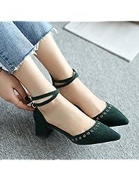 夏の季節の靴のキルトのヒールズ5センチメートルの女性のヒールの靴のサンダルワンワードの靴 (色 : 濃い緑色, サイズ さいず : 34)