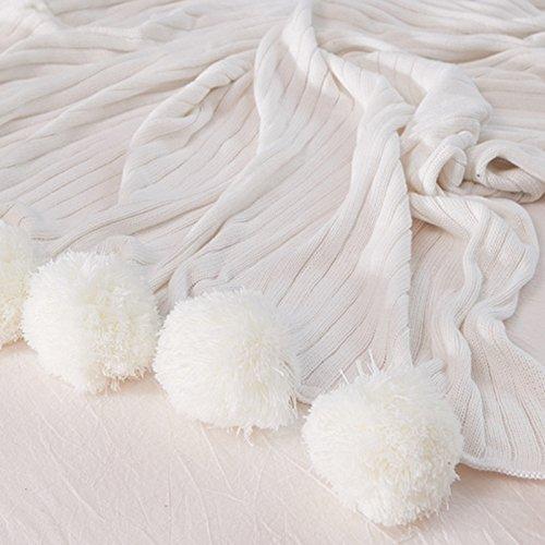 RoomClip商品情報 - Amorus 毛布 ダブル 北欧 綿 掛け毛布 じゅうたん おしゃれ コットン ブランケット ニット ポンポン ふわふわ 柔らかい 暖かい (150*200cm, ホワイト)