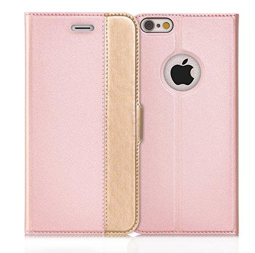 iPhone6s ケース iPhone6ケース ,Fyy ハンドメイド 良質PUレザーケース 手帳型 保護カバー カード収納ホルダー付き スタンド機能付 マグネット式 スマートフォンケース ピンクxゴールド