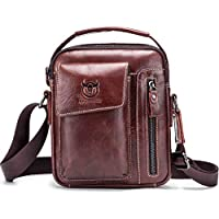 Chest Bag Men Genuine Leather Chest Bag, BULLCAPTAIN Crossbody Shoulder Bag Sling Bags Backpack Messenger Bag Daypack For Business Casual Sport Hiking Travel Dark Brown