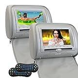 Eincar 2PCS汎用車載用DVDプレーヤー マルチメディア:ヘッドレストピローモニター (TFT LCDスクリーン搭載) ワイド7インチデジタル高精細スクリーン オートモニター+リモコン付属+FMトランスミッター対応(グレー)