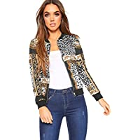 WearAll Womens Baroque Leopard Scarf Print Long Sleeve Zip Bomber Jacket Coat Top