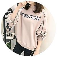 秋の新プリント半高襟のプルオーバートップ薄いセクション緩い学生の長袖のセーターの女性,藕粉色,XL