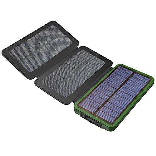 ソーラーチャージャー X-DRAGON モバイルバッテリー 軽量(10000mAh 大容量 3枚ソーラーパネル 2USB出力ポート LEDランプ搭載 Qpower急速充電) 防水 防塵 耐衝撃 太陽光充電器 iPhone iPad Galaxy スマホ カメラ タブレット等 ソーラー充電器 (グリーン)