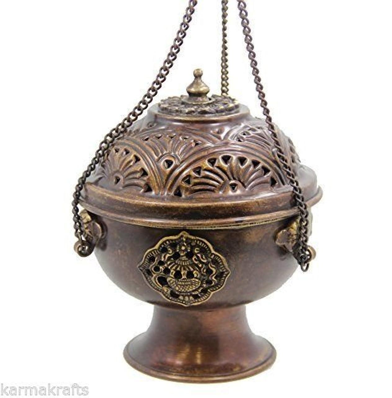すすり泣き恵み麺チベットHanging DharmaObjects Incense Burner ~銅W /チベットシンボル~ 5.25